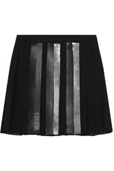 Versus By Versace Faux Leather Trimmed Embellished Pleated Chiffon Mini Skirt Black