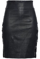 Each X Other Lace Up Leather Mini Skirt Black