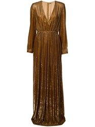 Adam By Adam Lippes V Neck Gown Brown