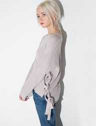 Pixie Market Joa Grey Eyelet Lace Up Sweater