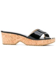 Jimmy Choo Panna 50 Wedge Sandals Women Calf Leather Leather Rubber 38 Black