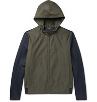 Berluti Slim Fit Jersey Panelled Cotton And Silk Blend Hooded Jacket Navy
