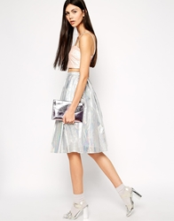Lashes Of London Pleated Midi Skirt In Irridescent Metallic Silver