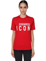 Dsquared Icon And Logo Printed Jersey T Shirt Red