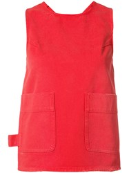 Maison Martin Margiela Mm6 Knotted Tank Women Cotton 40 Red