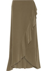 Theory Lorsinie Asymmetric Ruffled Washed Silk Wrap Skirt Army Green