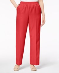 Alfred Dunner Mid Rise Pull On Pants Peony