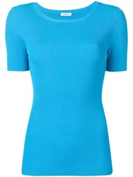 P.A.R.O.S.H. Fitted Ribbed T Shirt Blue