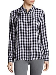 Beach Lunch Lounge Check Woven Top Black White
