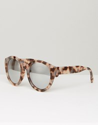 Asos Chunky Round Sunglasses In Tort With Flash Lens Tort Brown