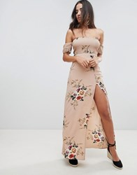 Girl In Mind Floral Bardot Maxi Dress Beige