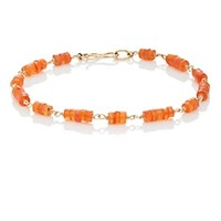 Dean Harris Orange Carnelian Beaded Bracelet Orange