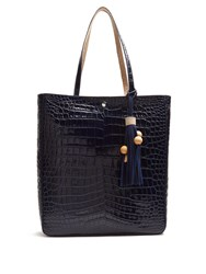 Elizabeth And James Eloise Crocodile Effect Leather Tote Navy