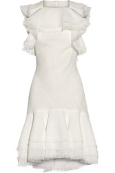 Jason Wu Ruffled Open Back Gauze Mini Dress White