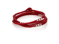 M Cohen M. Men's Knotted Cord Wrap Bracelet Red