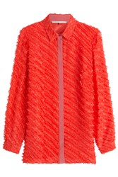 Marco De Vincenzo Fringed Silk Blouse Red