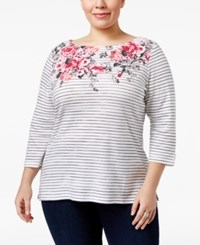 Karen Scott Plus Size Floral Print Striped Top Only At Macy's Bright White