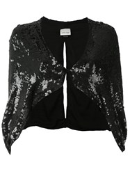 Loyd Ford Sequin Capelet Women Silk Rayon 2 Black