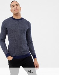 Ted Baker Tall Crew Neck Jumper In Texture Stripe Navy