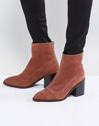 Asos Roxanna Suede Pointed Ankle Boots Rust Suede Tan
