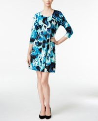 Ny Collection Petite Printed Fit And Flare Dress Teal Colorblast