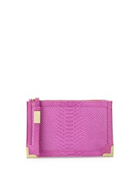 Foley Corinna Genesis Snake Embossed Leather Clutch Bag Fuchsia