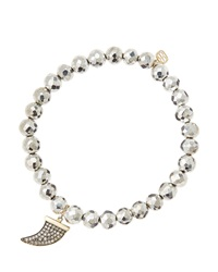 Sydney Evan 6Mm Faceted Silver Pyrite Beaded Bracelet With 14K Gold Diamond Medium Horn Charm Made To Order