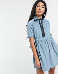 Sister Jane Mini Smock Dress With Tie Sides And Pussybow In Baby Cord Blue
