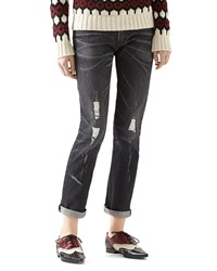Gucci Stone Washed Stretch Ripped Denim Pant Black
