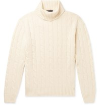 Thom Sweeney Slim Fit Cable Knit Cashmere Rollneck Sweater Neutrals