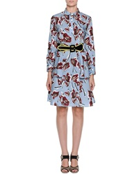 Marni Floral Print Cotton Peplum Shirtdress Illusion Blue