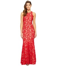 Aidan Mattox Long Stretch Lace Gown With Godet Hem Red Nude Women's Dress