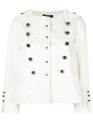 Twin Set Double Breasted Military Jacket White