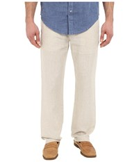 Perry Ellis Drawstring Linen Pants Natural Linen Men's Casual Pants Beige
