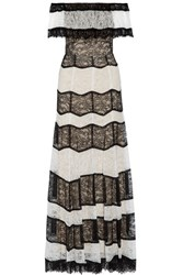 Alice Olivia Anika Off The Shoulder Corded Lace Gown Black