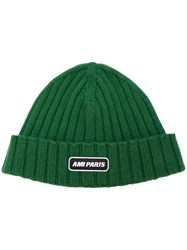 Ami Alexandre Mattiussi Ribbed Beanie With Paris Patch Green