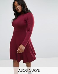 Asos Curve Frill Hem Mini Dress Dark Berry Red