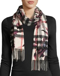 Burberry Cashmere Check And Floral Fringe Scarf Light Gray
