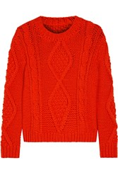 Maison Martin Margiela Chunky Cable Knit Wool Blend Sweater Orange