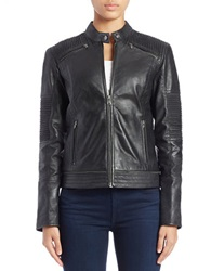7 For All Mankind Moto Leather Jacket Black