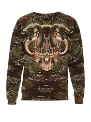 Marcelo Burlon Candenas Snake Print Cotton Sweater Green Multi