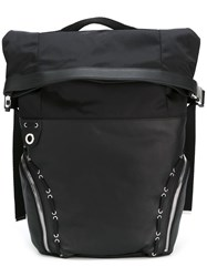 Diesel Black Gold Lace Up Detailing Backpack Black
