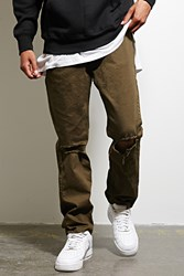 Forever 21 Defyant Distressed Jeans Olive