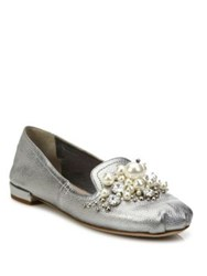 Miu Miu Jeweled Metallic Leather Loafers Cromo