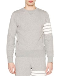 Thom Browne Crewneck Four Stripe Sweatshirt Light Gray Light Grey