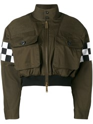 Dsquared2 Checkboard Cropped Bomber Jacket Women Cotton 40 Green