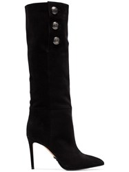 Balmain Black Jane 95 Buttoned Suede Knee High Boots