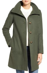 Kristen Blake Women's Funnel Neck Wool Blend Coat Moss