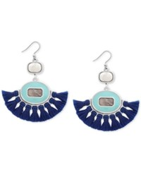 Lucky Brand Silver Tone Stone And Tassel Fringe Drop Earrings Created For Macy's