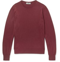 Canali Knitted Cotton Sweater Burgundy